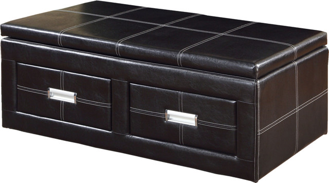 Espresso LiftTop Storage Ottoman Padded Leatherette Seat Two