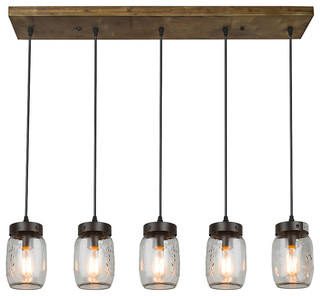 LNC   Glass Mason Jar 5 Light Island Pendant Light   Kitchen Island Lighting