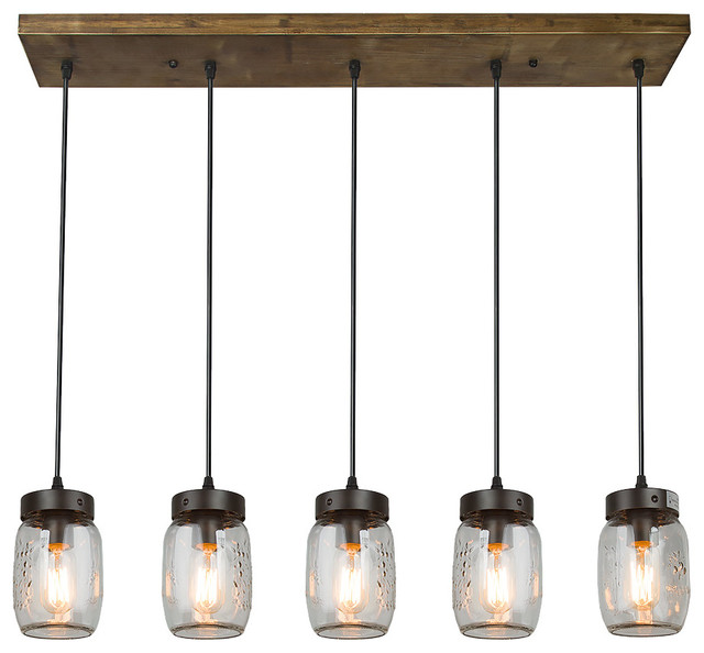 5-Light Glass Mason Jar Island Pendant Lighting. -1