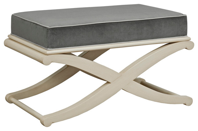 Shelby X Shaped Wood Frame Bench, Charcoal.