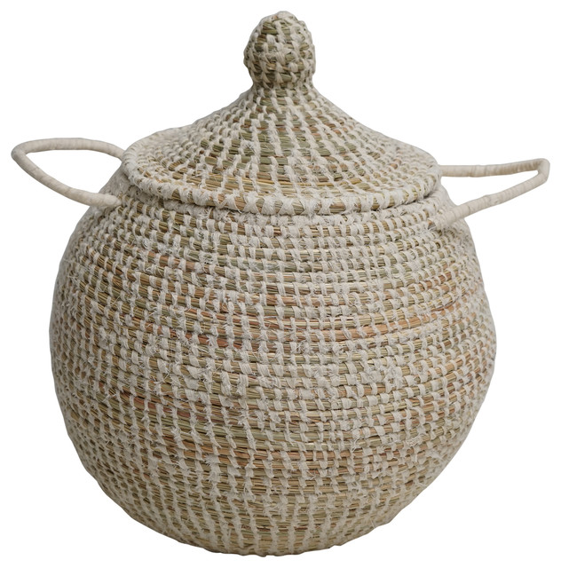 Doum Basket With White Interweaving, Small