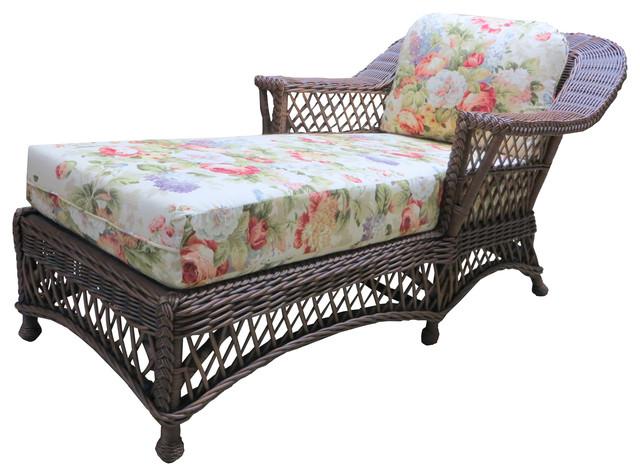bar harbor chaise lounge in brown wash aqua fabric