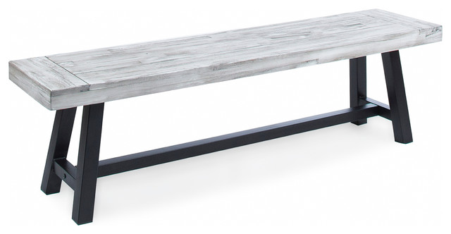 Merveilleux Angelina Indoor Farmhouse Acacia Wood Dining Bench, Light Gray/Black