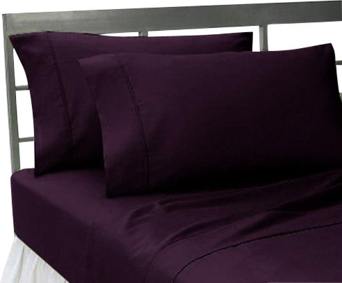 1,000-Thread Count Solid Sheet Set, Purple, King - Contemporary ...