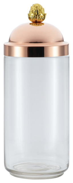 Glass Kitchen Jar With Copper Lid Contemporary Kitchen Canisters And Jars