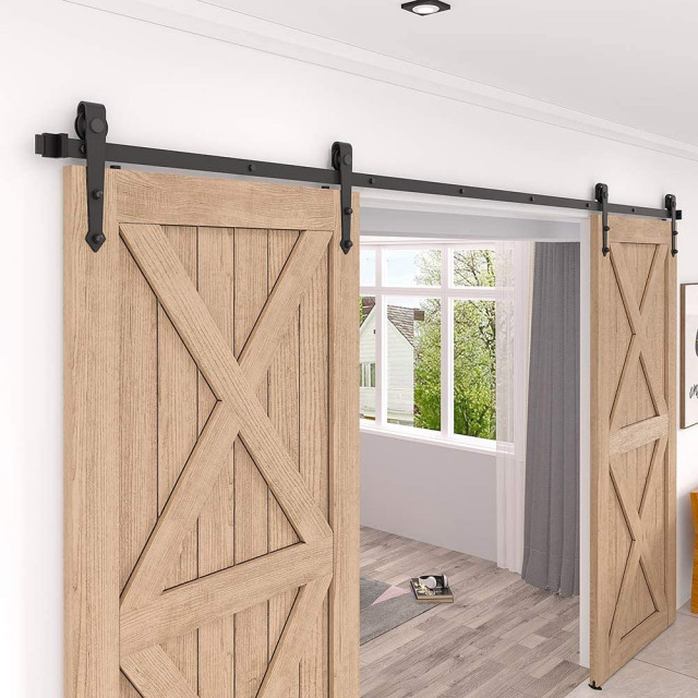 Zekoo Arrow Shape Sliding Barn Door Hardware Kit For Double Door Traditional Barn Door Hardware By Zekoo Inc Houzz