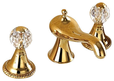 Molino bathroom widespread lavatory sink faucet crystal - Gold bathroom faucets with crystal handles ...