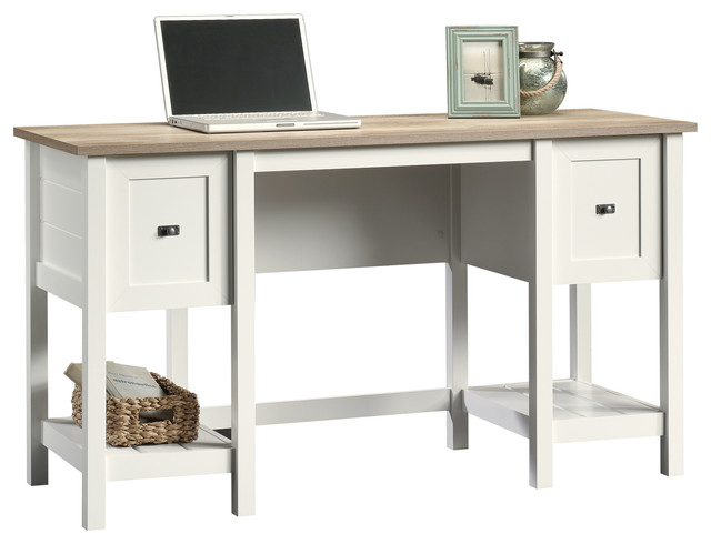 Sauder Cottage Road Desk Soft White Beach Style Desks And