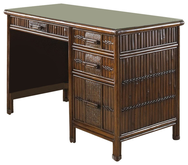 Hospitality Rattan Polynesian Rattan/Bamboo Desk, Antique With Glass  Tropical Desks And