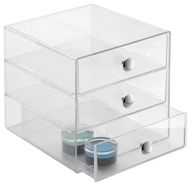 Interdesign Clear Plastic 3 Drawer Organizer.