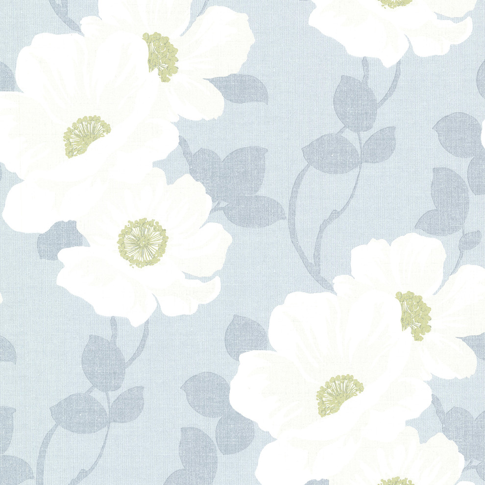 Beacon House By Brewster 2614 21050 Leala Light Blue Modern Floral