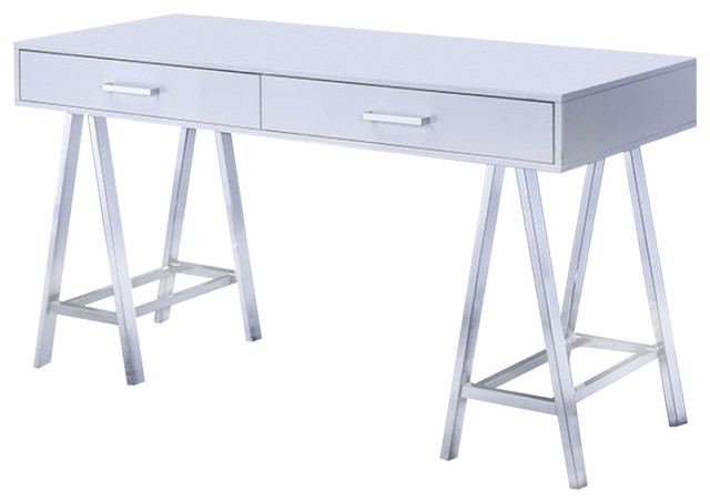 Two Drawer Contemporary Computer Desk With Angled Legs, White.