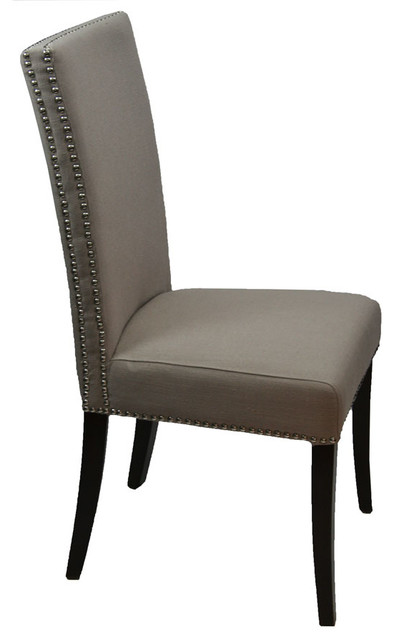 High Back Fabric Dining Room Chair With Double Row Nailhead, Light Gray  Dining Chairs