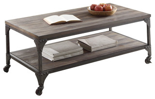 gorden coffee table weathered oak and antique nickel industrial coffee tables by acme furniture