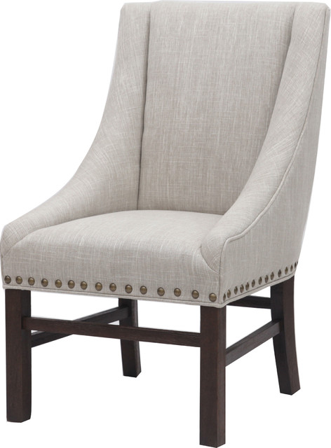 Aaron Sloping Arm Chair, Rice, Dark Brown by New Pacific Direct Inc.