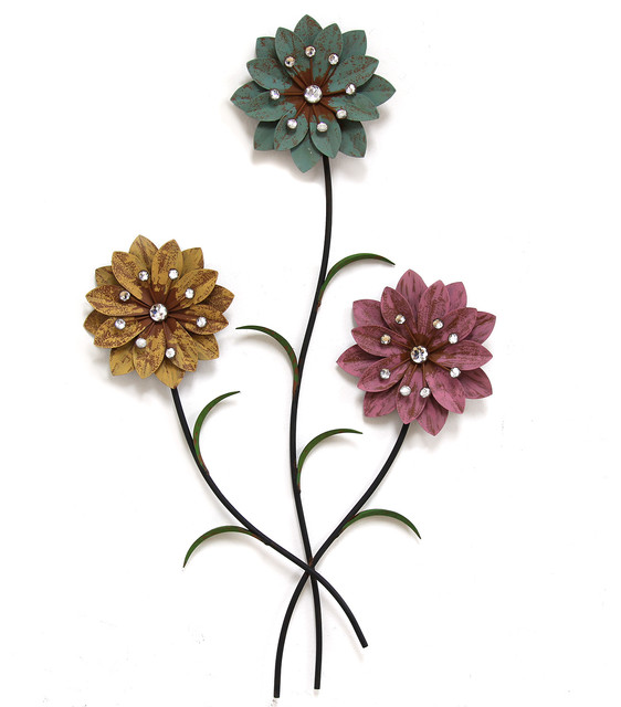 Whimsical flowers wall decor farmhouse metal wall art for Metal flower wall art
