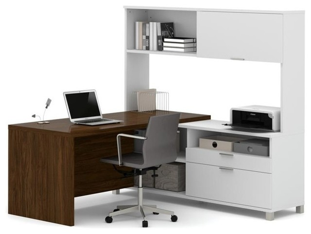 Bestar Pro-Linea L-Desk With Hutch, White And Oak Barrel.