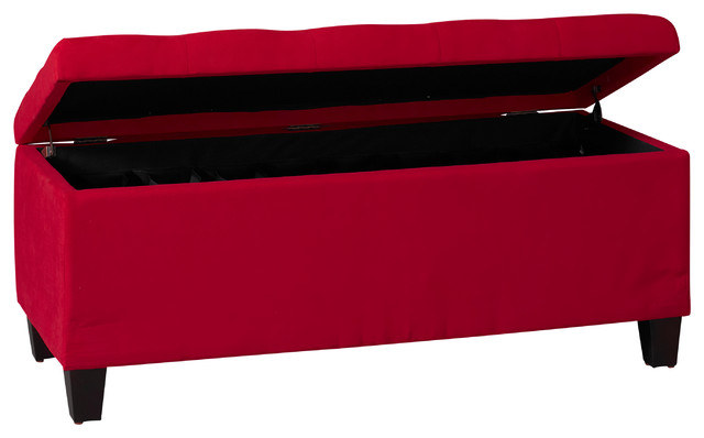 Carmen Shoe Storage Ottoman Red Contemporary Footstools And Ottomans