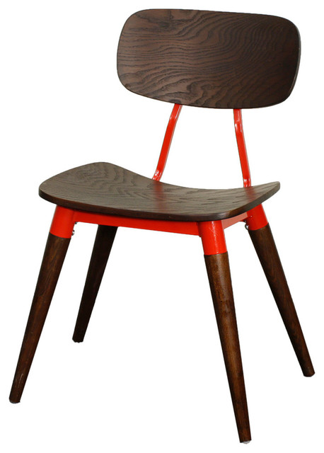 Merla Side Chair, Espresso And Red