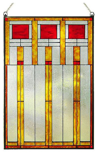 Arts and crafts prairie squares red art glass panel for Arts and crafts glass