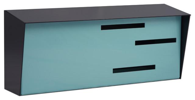 mid century modern mailbox black and robin egg - Modern Mailboxes