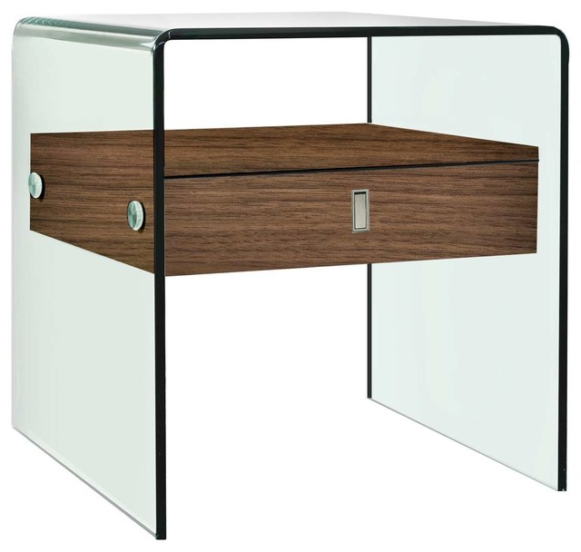 Bari Glass Nightstand/End Table, Walnut Veneer Contemporary Nightstands  And Bedside