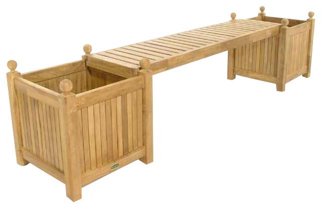 Westminster Double Teak Planter Bench Modern Outdoor