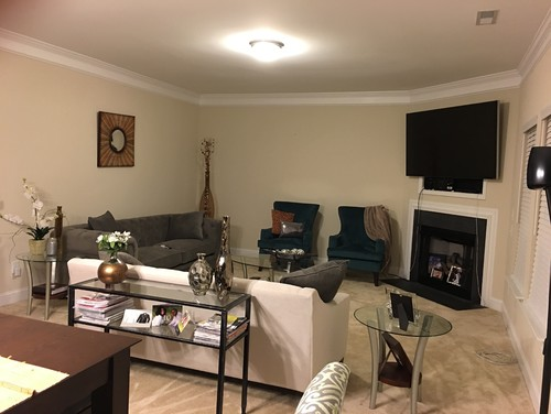 Furniture Placement In Living Room With Corner Fireplace corner fireplace help! odd room for furniture layout