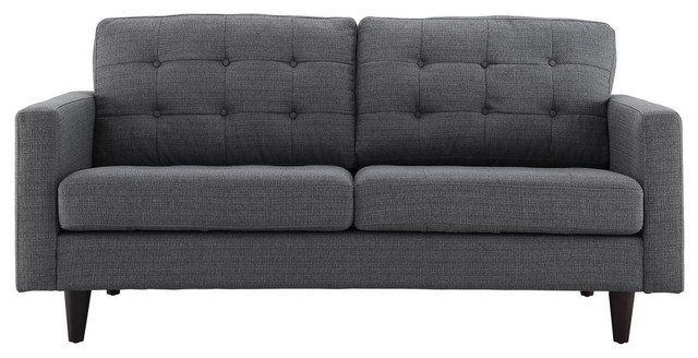 Empress Upholstered Loveseat, Gray.