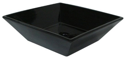 Kingston Brass Parisan Black China Vessel Bathroom Sink Without Overflow Hole.