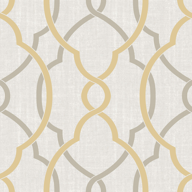 Sausalito Taupe Yellow L And Stick Wallpaper Modern By Wallpops