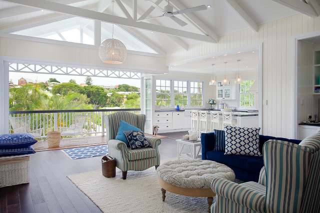Hampton style interior design beach style brisbane for Queenslander living room ideas