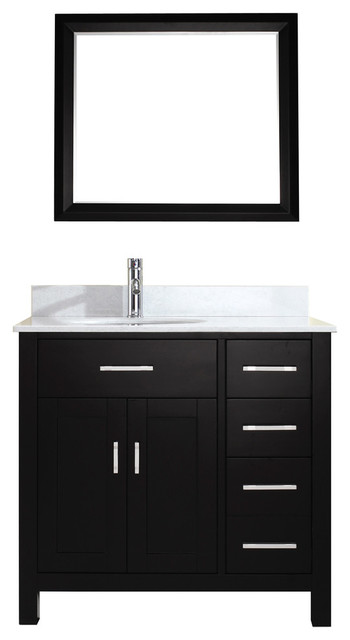 "Caleb Vanity With Mirror, Espresso And White Marble, 36""."