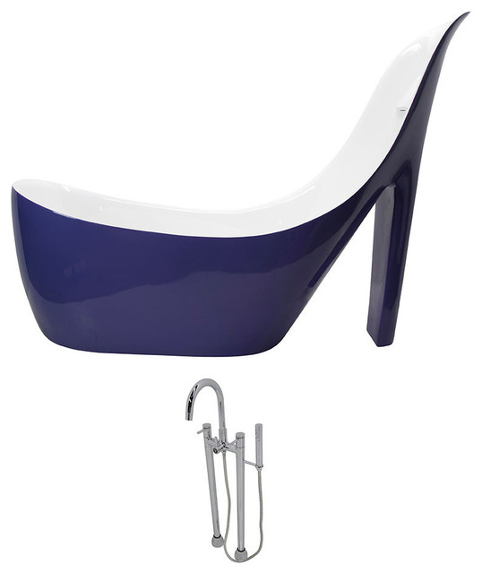 Anzzi Gala 6.7 Ft. Acrylic Freestanding Bathtub In Violet And Sol Faucet.