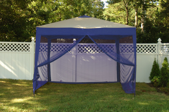 Stow Ex 10&x27; X 10&x27; Pop-Up Canopy With Mosquito Net And Carry Bag, Denim Blue.