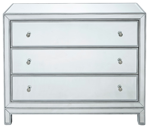 Chest 3 Drawers 40 W X 16 D X 32 H, Antique Silver Paint