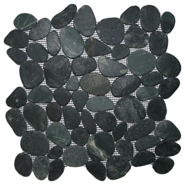 Sliced Charcoal Black Pebble Tile