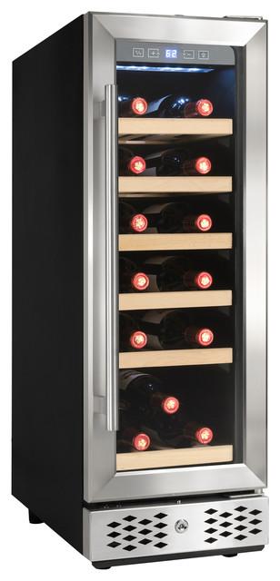 Akdy 18 Bottles Single Zone Compressor Function Freestanding Wine Cooler Chiller.