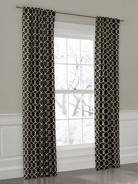 Perfect Window Treatments. Custom Black And White Trellis Rod Pocket Drapery  Contemporary