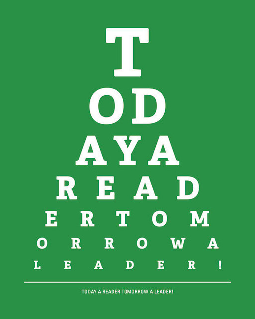 image regarding Eye Chart Printable identified as At present A Reader Tomorrow A Chief, eye chart print (kelly eco-friendly)