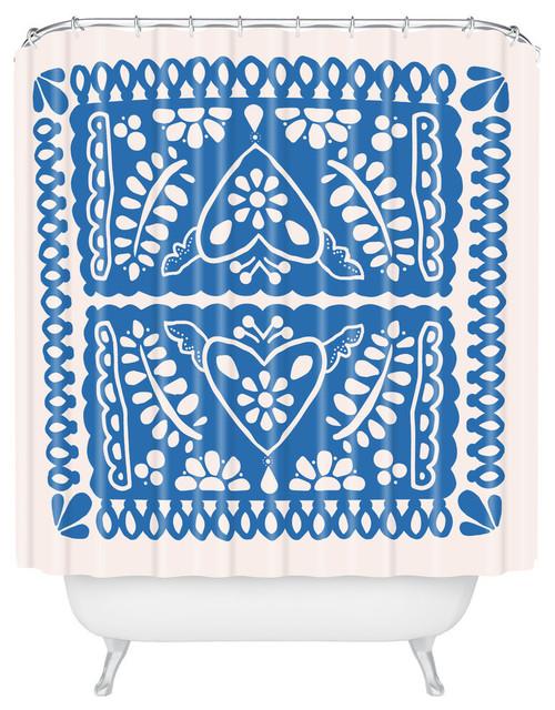 Natalie Baca Fiesta De Corazon In Blue Shower Curtain Standard