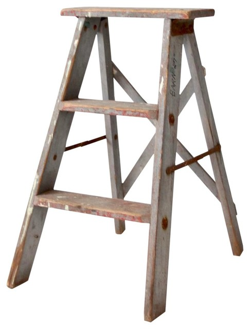Surprising Consigned Vintage Wooden Step Ladder Ncnpc Chair Design For Home Ncnpcorg
