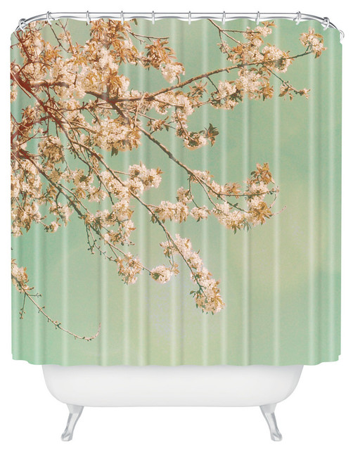 Shower Curtains cherry blossom shower curtains : DENY Designs Happee Monkee Plum Blossoms Shower Curtain - Shower ...