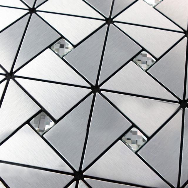 Metal mosaic tile silver kitchen backsplash tile bath wall diamond glass 6127