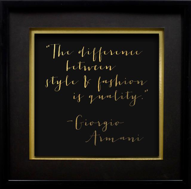"""""""giorgio Armani"""", Gold Foil On Black Paper, 17""""x17""""."""