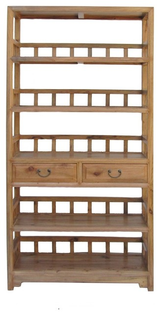 Chinese Camphor Wood Simple Display Curio Bookcase Cabinet