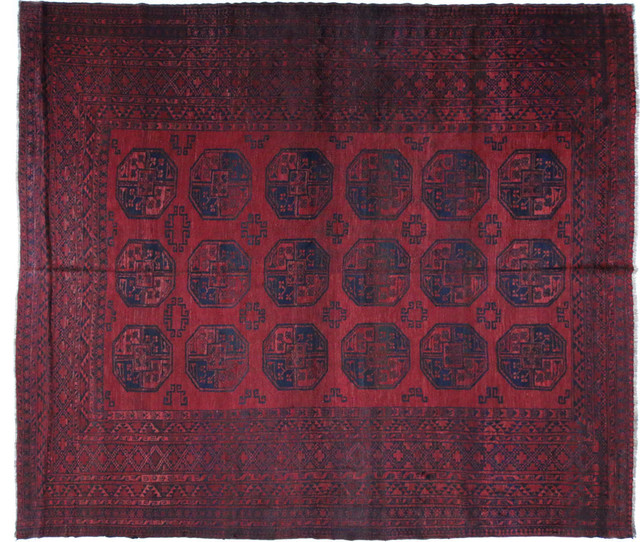 Tribal Turkmen Gul Red And Blue Afghan Hand Knotted Wool
