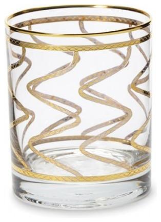 Elegante Gold Swirl Double Old Fashioned Glass