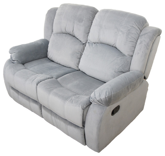 Traditional Brush Microfiber Recliner Loveseat Gray contemporary-loveseats  sc 1 st  Houzz & Traditional Brush Microfiber Recliner Loveseat - Contemporary ... islam-shia.org
