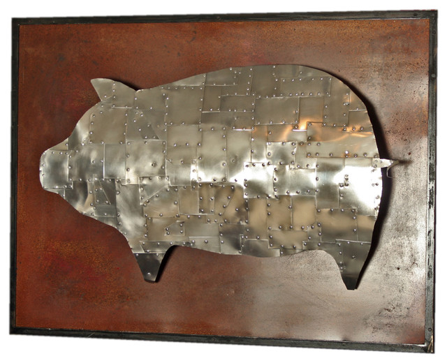 Armored Pig Metal Sculpture